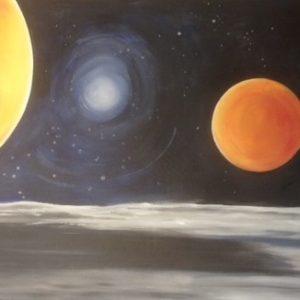 """In opdracht. Muurschildering 150*100 cm """"De Planeten"""" In opdracht"""