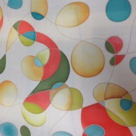 Handbeschilderde 100% zijden sjaal 90*90. Prijs € 55,00