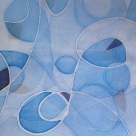 Handbeschilderde 100% zijden sjaal. 90*90 cm. prijs €45,00
