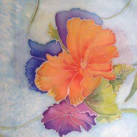 Handbeschilderde 100% zijden sjaal. 90*90 cm. Prijs € 45,00