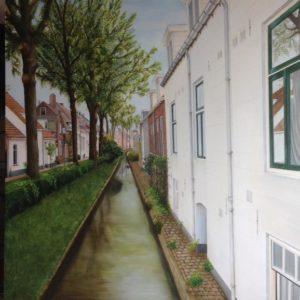 De havenstraat te IJsselstein.  100 x 100 cm. Prijs op aanvraag.